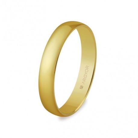 Alianza de oro amarillo Argyor 50353 sin brillante en media caña clásica en acabado pulido brillo espejo