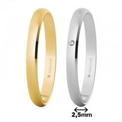 Alianza Argyor oro clásica ancho 2,5mm grosor 1mm ref-253