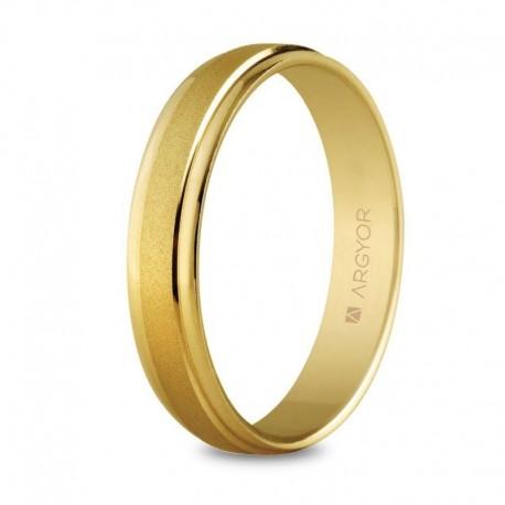 Alianza Argyor clásica brillo una franja arenada en 4mm en oro amarillo 5140044