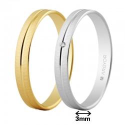 Alianza Argyor oro amarillo o blanco ancho 3mm texturizada con surco central 5130474 5B30474
