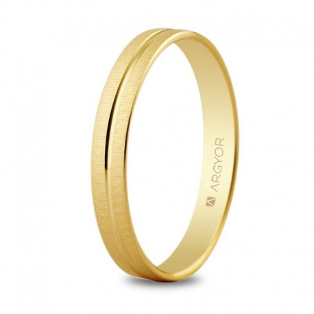 Alianza Argyor oro amarillo ancho 3mm texturizada con surco central 5130474