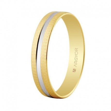 Alianza Argyor ancho 4mm texturizada con surco central oro amarillo 5241474R