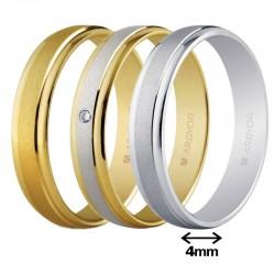 Alianza Argyor oro clásica brillo franja arenada ancho 4mm ref-40044. Entrega 24/48h