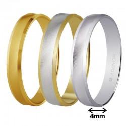 Alianza Argyor oro cóncava mate cantos biselados brillo ancho 4mm ref-40308