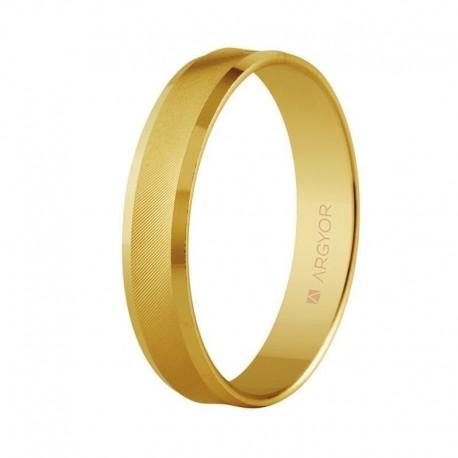 Alianza Argyor cóncava matizada cantos biselados brillo en 4mm en oro amarillo 5140308