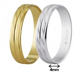Alianza Argyor oro plana dos franjas efecto agua ancho 4mm ref-40340