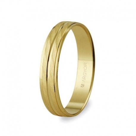 Alianza Argyor oro amarillo plana dos franjas efecto agua ancho 4mm 5140340