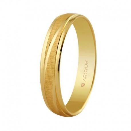 Alianza Argyor plana efecto aguas lineas brillo diagonal en 4mm oro amarillo 5140329