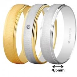Alianza Argyor oro plana franja texturizado bisel doble ancho 4,5mm ref-45466