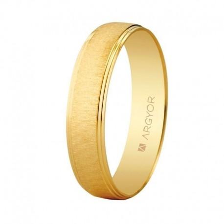 Alianza Argyor redondeada franja texturizada bisel doble en 4,5mm en oro amarillo 5145466