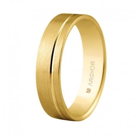 Alianza Argyor oro amarillo plana mate surco ancho 5mm 5150316