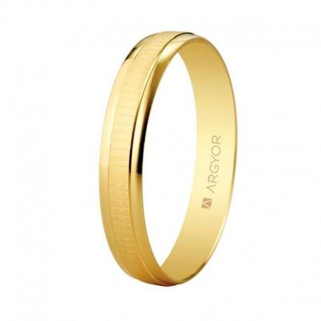 Alianza Argyor oro amarillo ancho 3,5mm franja central texturizada 5135495