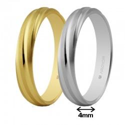 Alianza Argyor oro redondeada mate lineas rizado brillo ancho 4mm ref-40266