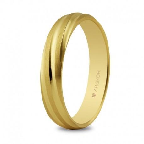 Alianza Argyor oro amarillo redondeada mate lineas rizado brillo en 4mm 5140266