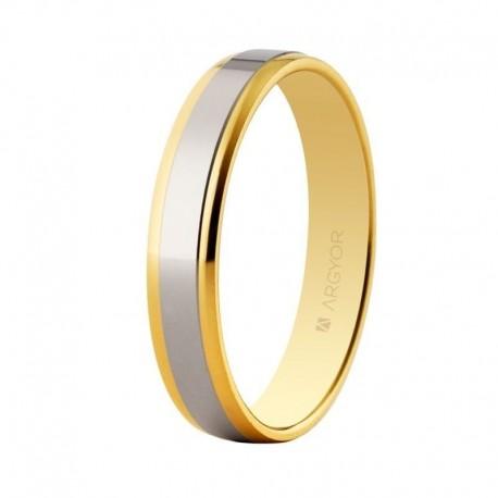 Alianza Argyor oro bicolor plana lisa brillo en 4mm 5235158