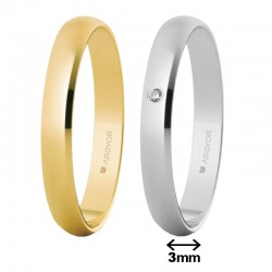 Alianza Argyor clásica de 3mm en oro amarillo o blanco, con o sin brillante 50305 5B305D
