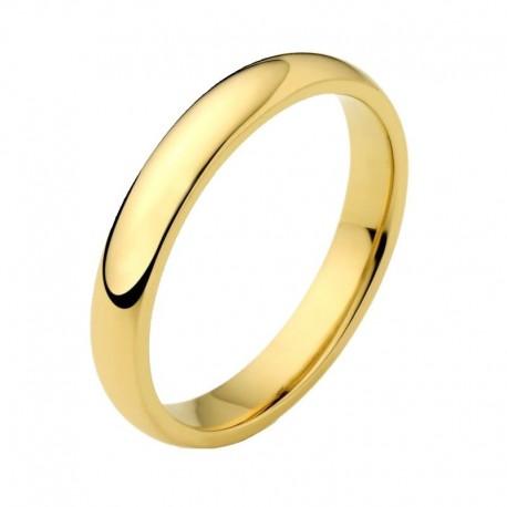 Alianza oro amarillo artesanal media caña clásica con opción de interior confort y en anchos variables de 1,5mm a 8,5mm