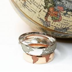 Alianzas mapamundi con hemisferio norte o sur redondeada y con interior confort, en oro amarillo, blanco, rosa o plata