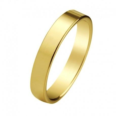 Alianza oro amarillo artesanal plana con opción de interior confort y en anchos de 1,5mm a 8,5mm