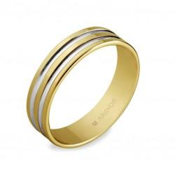 Alianza oro bicolor Argyor 5150210R plana dos ranuras brillo color blanco y resto pulido brillante