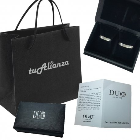 Estuche, bolsa y certificado alianzas de boda Duoo personalizadas en oro de 9K y en oro de 18K